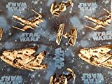 Blue Star Wars/ Millineum Falcon Ti Fighter Shopping Tote/ Market Bag 14x18 inches