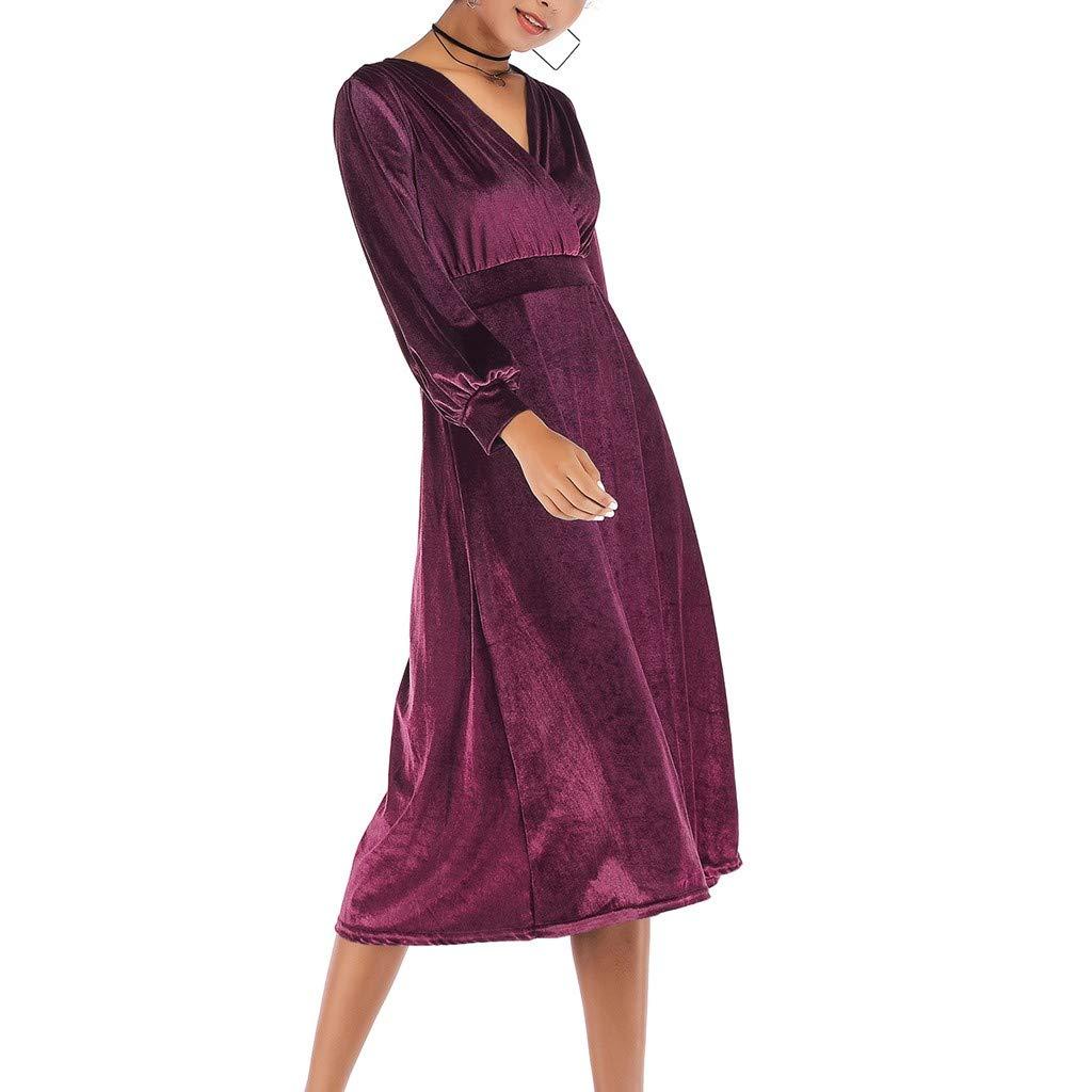 Topgrowth Vestito Donna Eleganti Abito in Velluto con Scollo A V sul Retro Attraversare Manica Lunga Vestito Grande Swing Formale Vestito da Festa