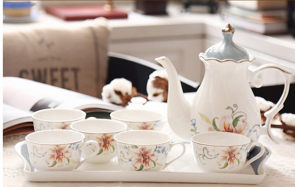 PLLP European-Style Afternoon Tea Tea Set Home Coffee Cup Ceramic Teapot Set Flower Cup Wedding Tea Gift,B