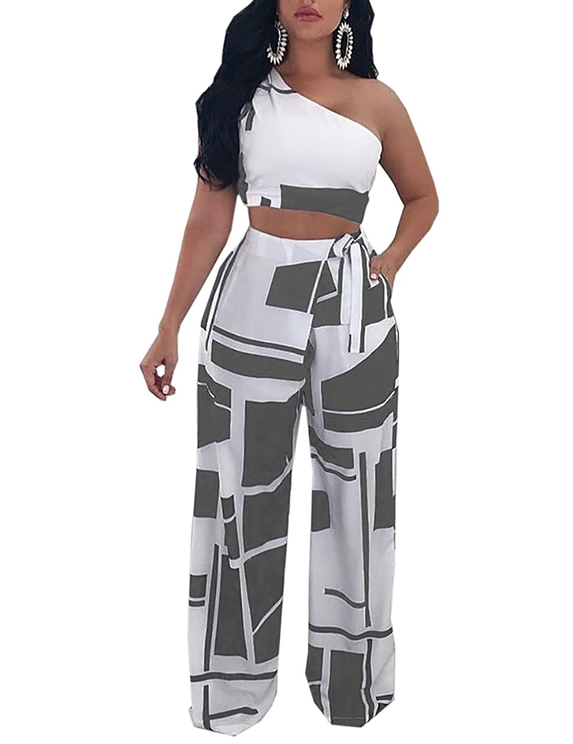 5b962e9e925 Online Cheap wholesale Ninimour Womens Colorblock One Shoulder Cropped Wide  Pants Set Rompers & Overalls Suppliers