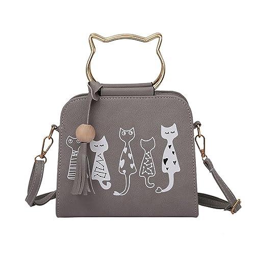 zarupeng-bolsas de hombro con borla de patrón de gato (Gris)