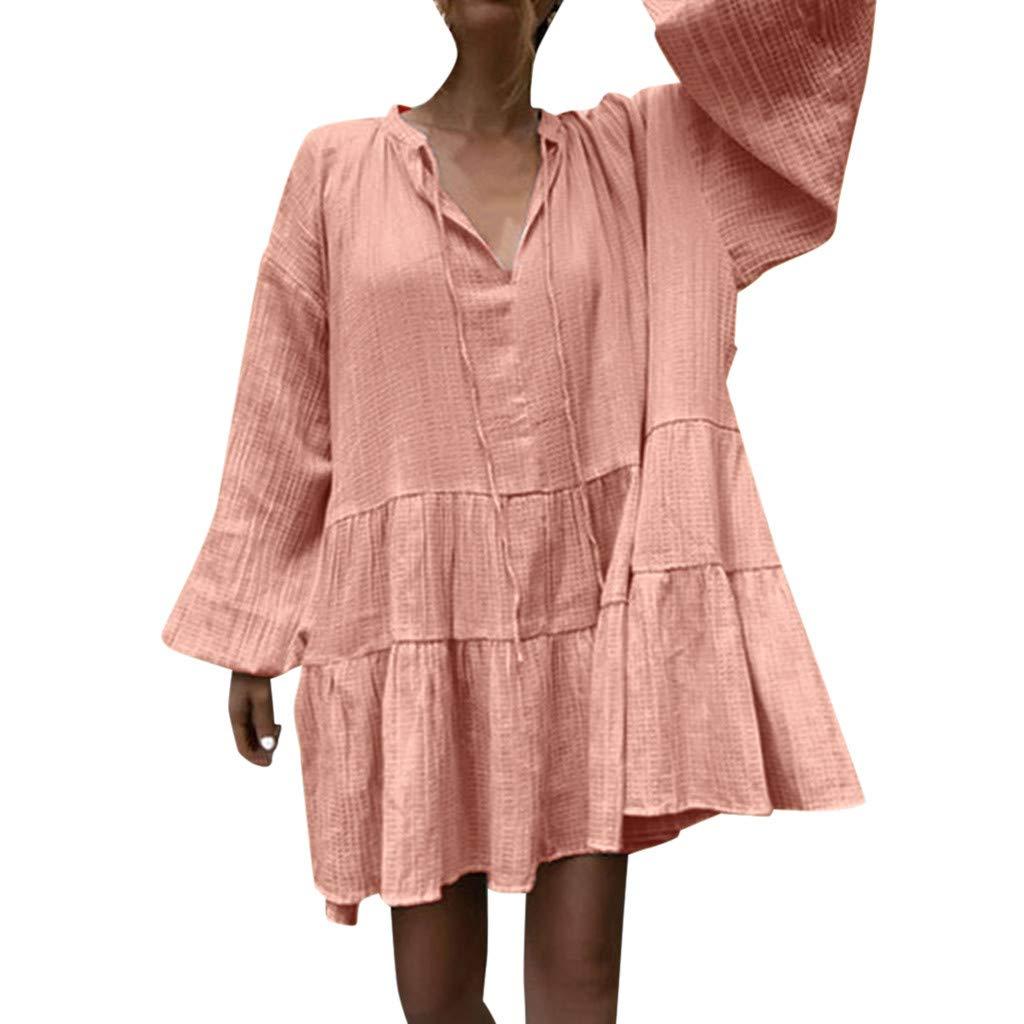 ZOMUSAR Fashion Women's Sexy V Neck Summer Casual Solid Full Sleeve Pleated Frenulum Easy Dress Orange
