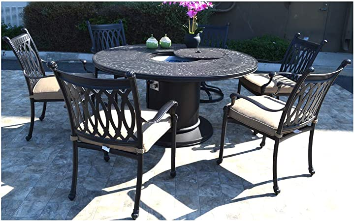 Amazon Com Fire Pit Table Set Grill Cast Aluminum Patio Furniture Grand Tuscany Outdoor Dining Chairs Garden Outdoor