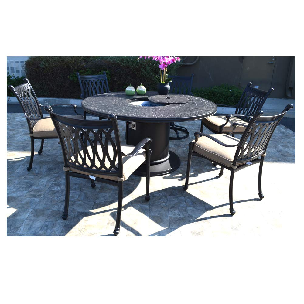Amazon com 7 pc patio dining set cast aluminum powder coated burner round table grand tuscany outdoor dining chairs and swivels garden outdoor