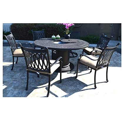 Astounding Amazon Com Propane Fire Pit Table Set Grill Cast Aluminum Beutiful Home Inspiration Aditmahrainfo