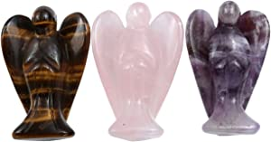 Sunligoo 3 Pcs Carved Natural Gemstone Peace Angel Pocket Guardian Angel Reiki Healing Crystal Statue 1.5 Inches - Amethyst + Rose Quartz + Tiger Eye Stone
