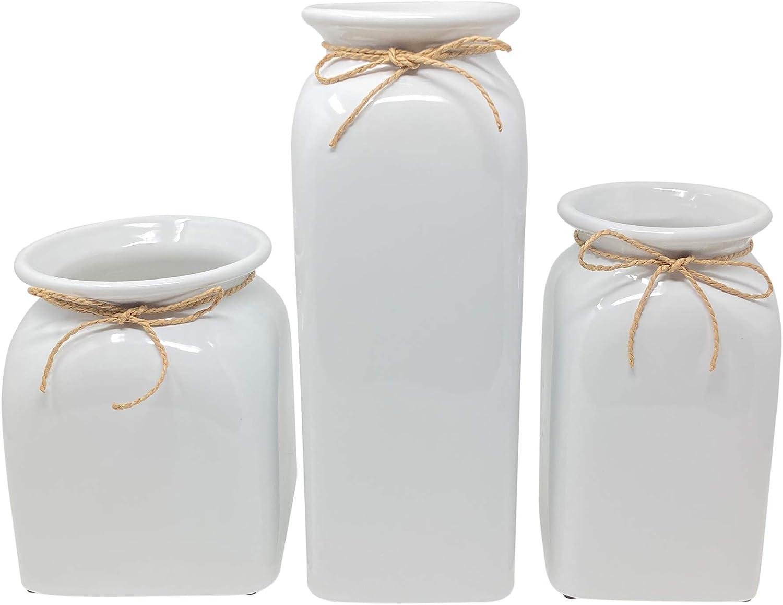 Joseph's - Large White Ceramic Vase Set, Set of 3 Vases, Tall vase Set, Great for Decorating Kitchen, Office Decor, or Living Room Decor, Home Decor