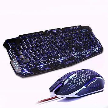 M200 Lila/Azul/Rojo LED Retroiluminación Pro Gaming Teclado ...