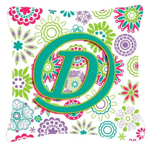 "UPC 615872981977, Caroline's Treasures CJ2011-DPW1818 Letter D Flowers Pink Teal Green Initial Pillow, 18"" x 18"", Multicolor"