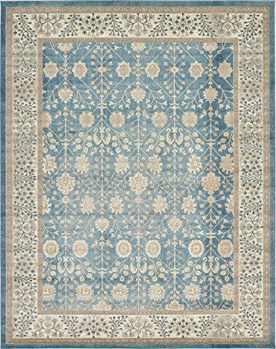 Luxury Vintage Persian Design Tabriz Rug Light Blue 10' x 13' St.George Collection Area ()