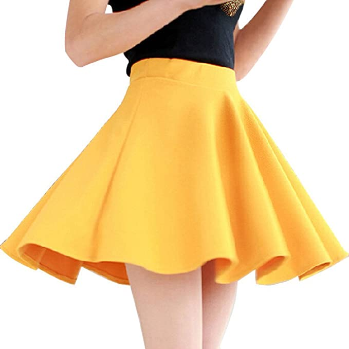 644f96457 Minetom Mujer Chicas Delgado Minifalda Verano Moda Corto Vestidos Falda  Color del Caramelo Amarillo  Amazon.es  Ropa y accesorios