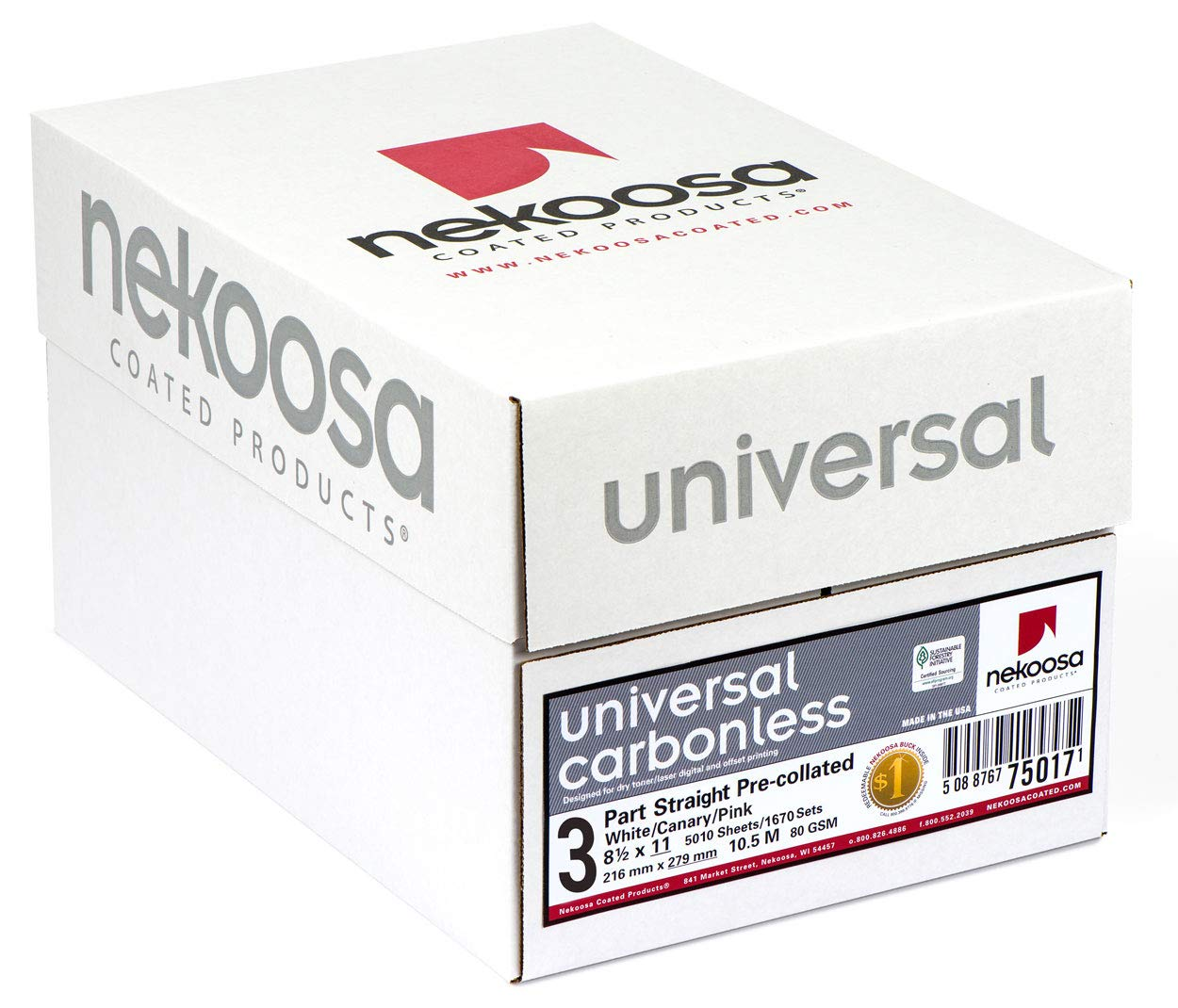 8.5 x 11 Nekoosa Universal Carbonless Paper, 3 Part Straight/Forward (Bright White/Canary/Pink), 1670 Sets, 5010 Sheets, 10 Reams by PSD