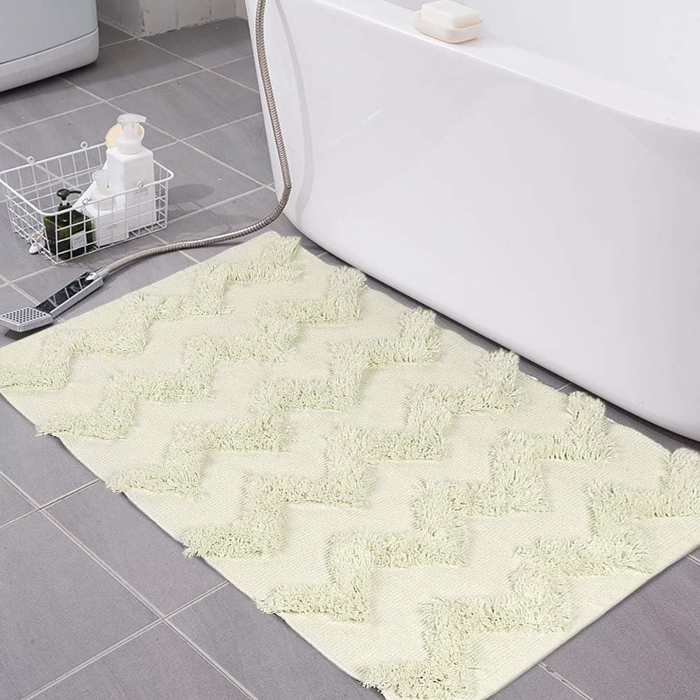 LEEVAN Hand Woven Cotton Bath Rug Cream Chic Diamond Tufted Door Mat,Indoor Floor Throws Area Rugs Blanket Compatible Bedroom,Living Room,Children Playroom (2' x 3', Wavy Pattern)