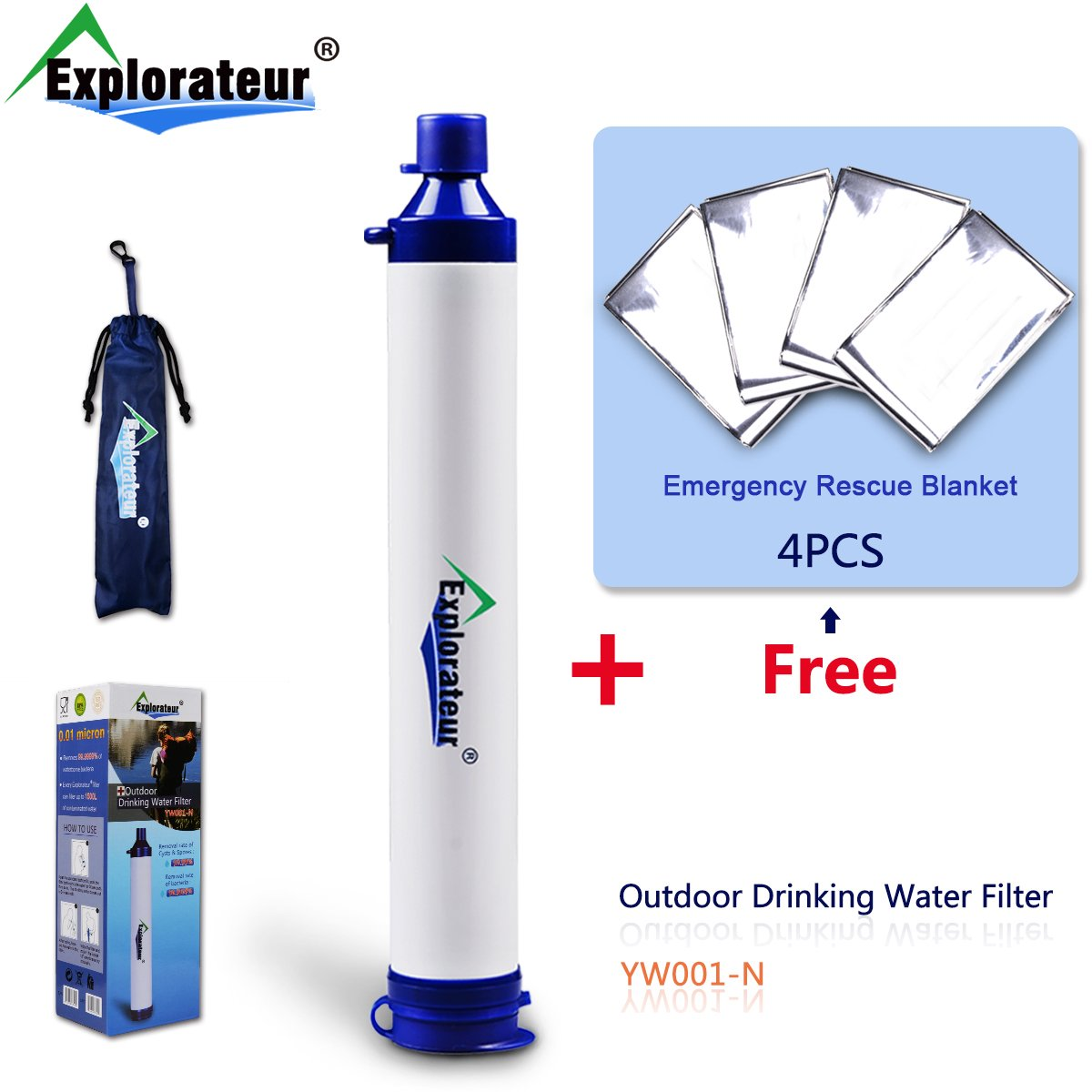 Holiday Promotions!!!Explorateur outdoor drinking water filter for camping,hiking,backpacking,Portable Water Filter with 4 PCS emergency rescue blanket FOR FREE