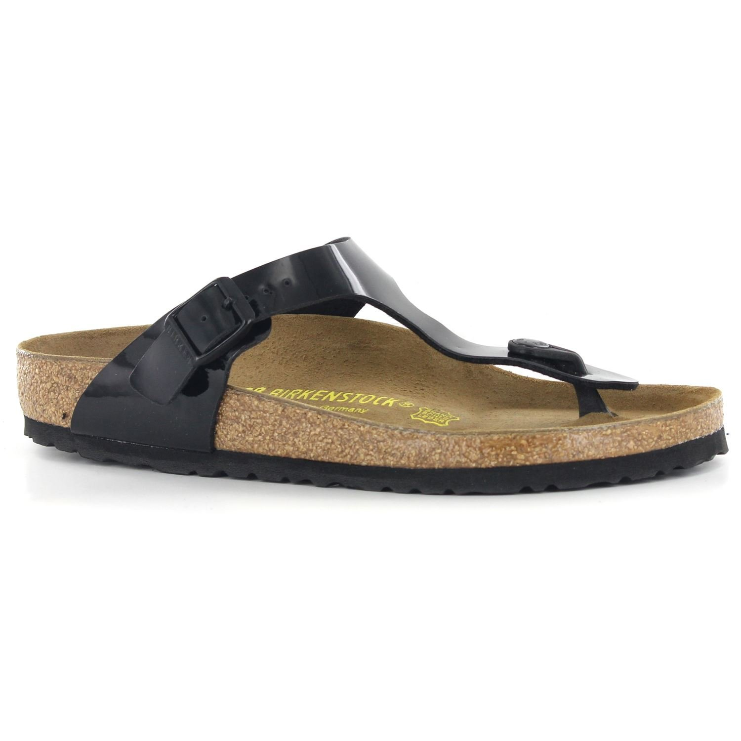 93153ae840e Galleon - Birkenstock Womens Gizeh Black Patent Regular Fit Toe Post Sandals  Size 7