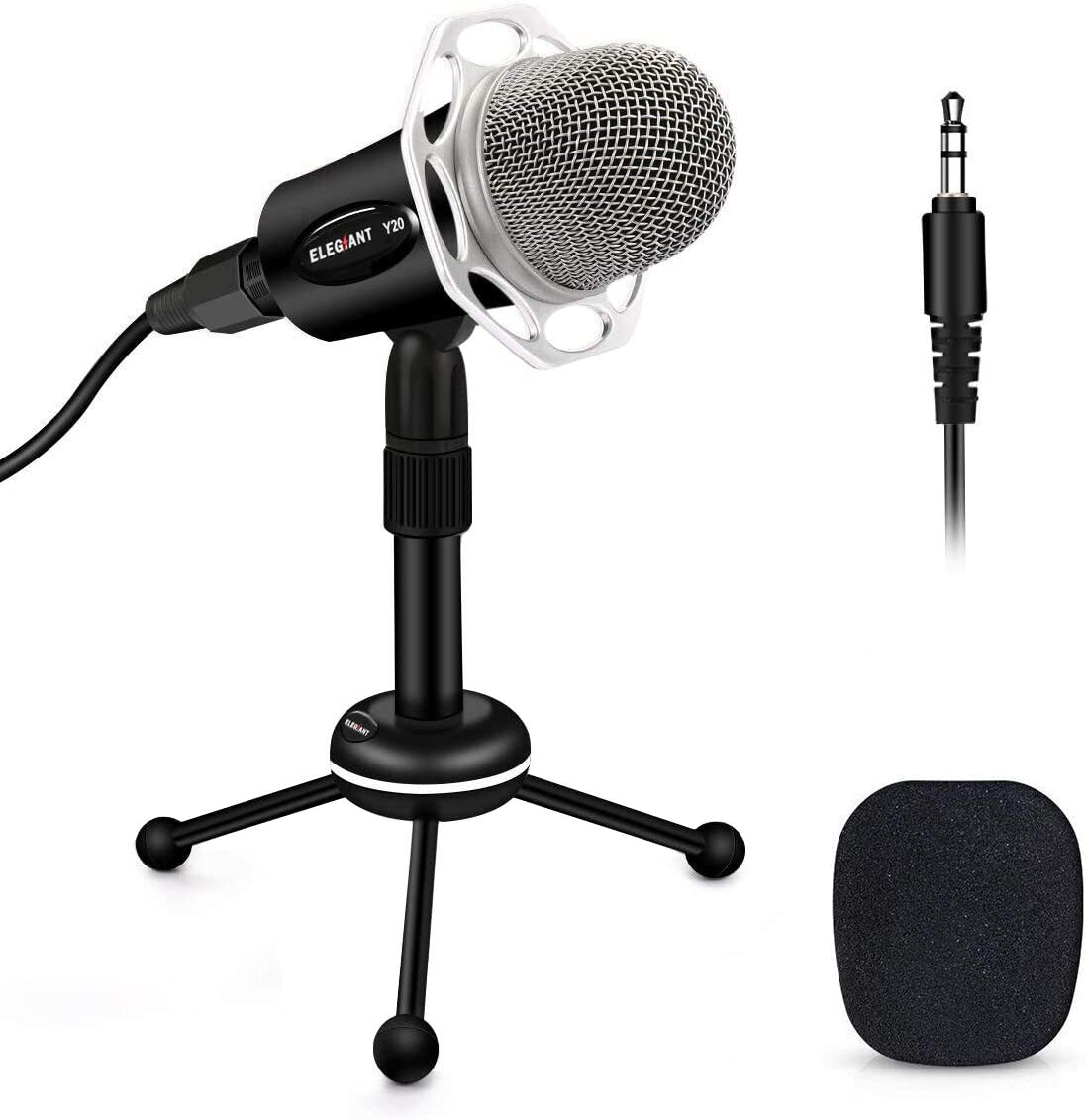 ELEGIANT PC Microphone, Y20 Portable Condenser Microphone 3.5mm Plug & Play with Tripod Stand Home Studio Recording Microphone for Computer, Smartphone, Podcasting Karaoke, YouTube, Skype, Games