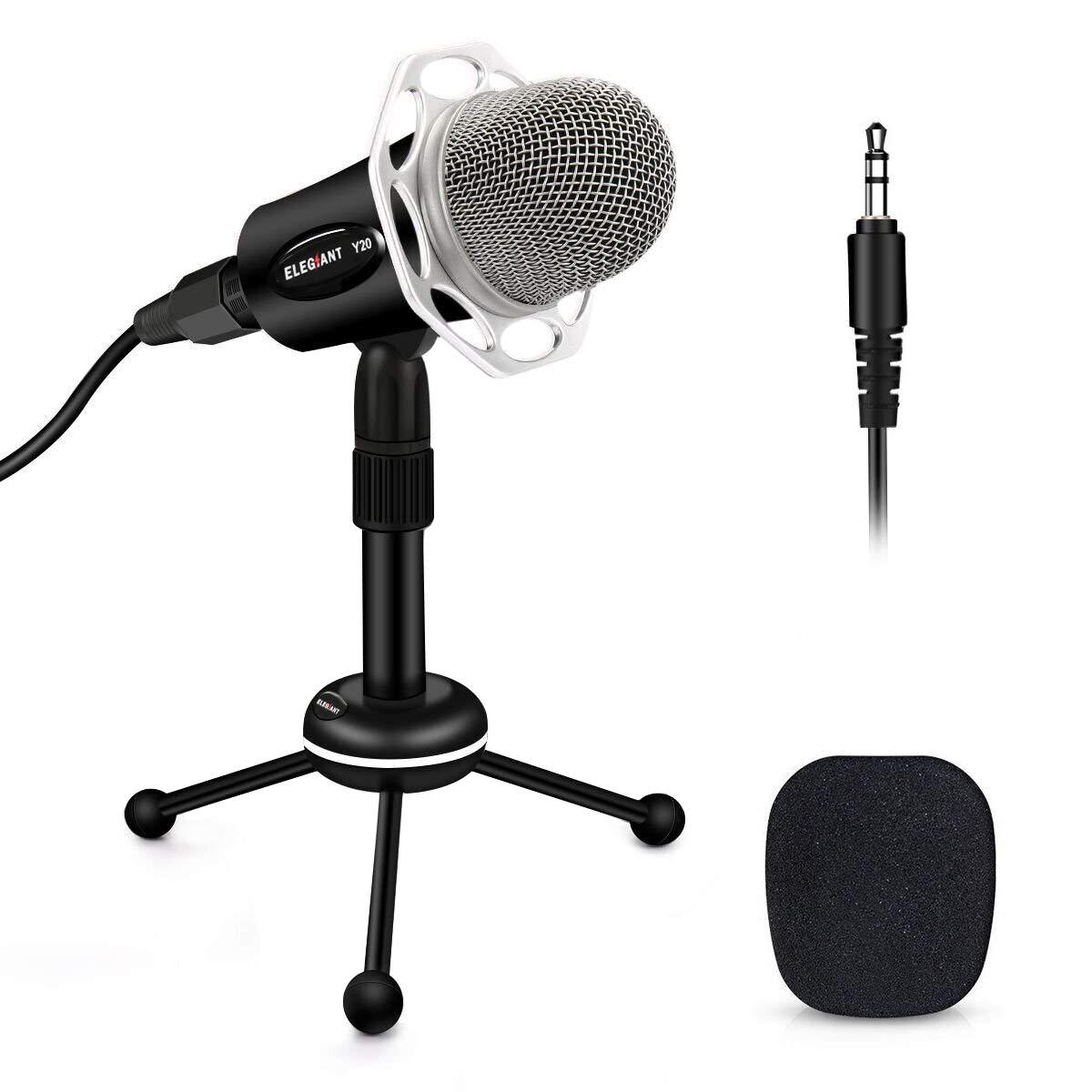 Micrófono para PC, ELEGIANT Y20 Micrófono de condensador portátil Plug & Play de 3.5 mm con soporte para trípode Micrófo