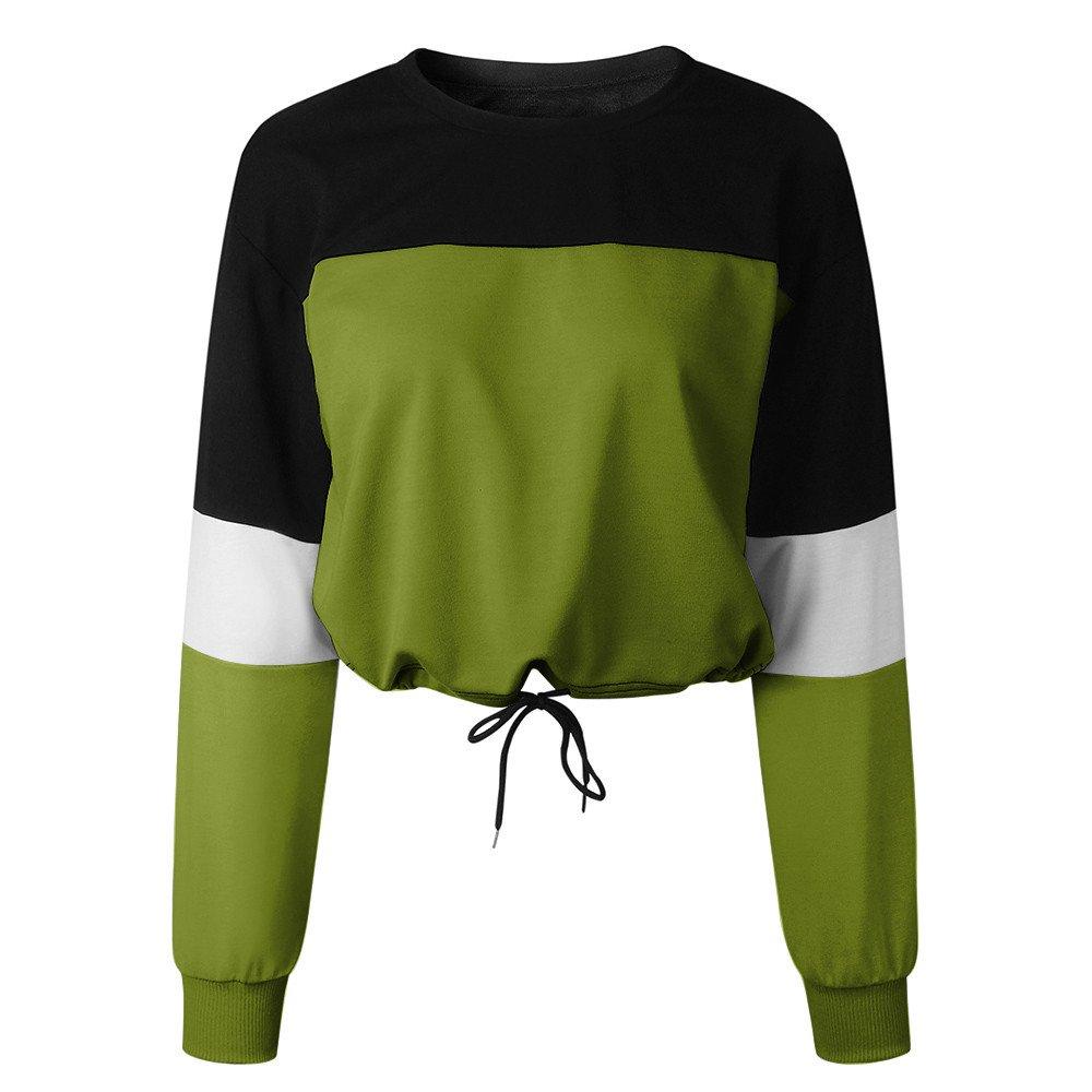Zalanala Womens Long Sleeve Splcing Color Sweatshirt Pullover with Drawstrings Tops Blouse (M, Green)