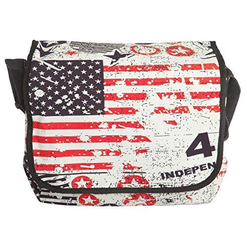 Borsa a tracolla donna - stampa bandiera USA stelle e strisce - dimensione media