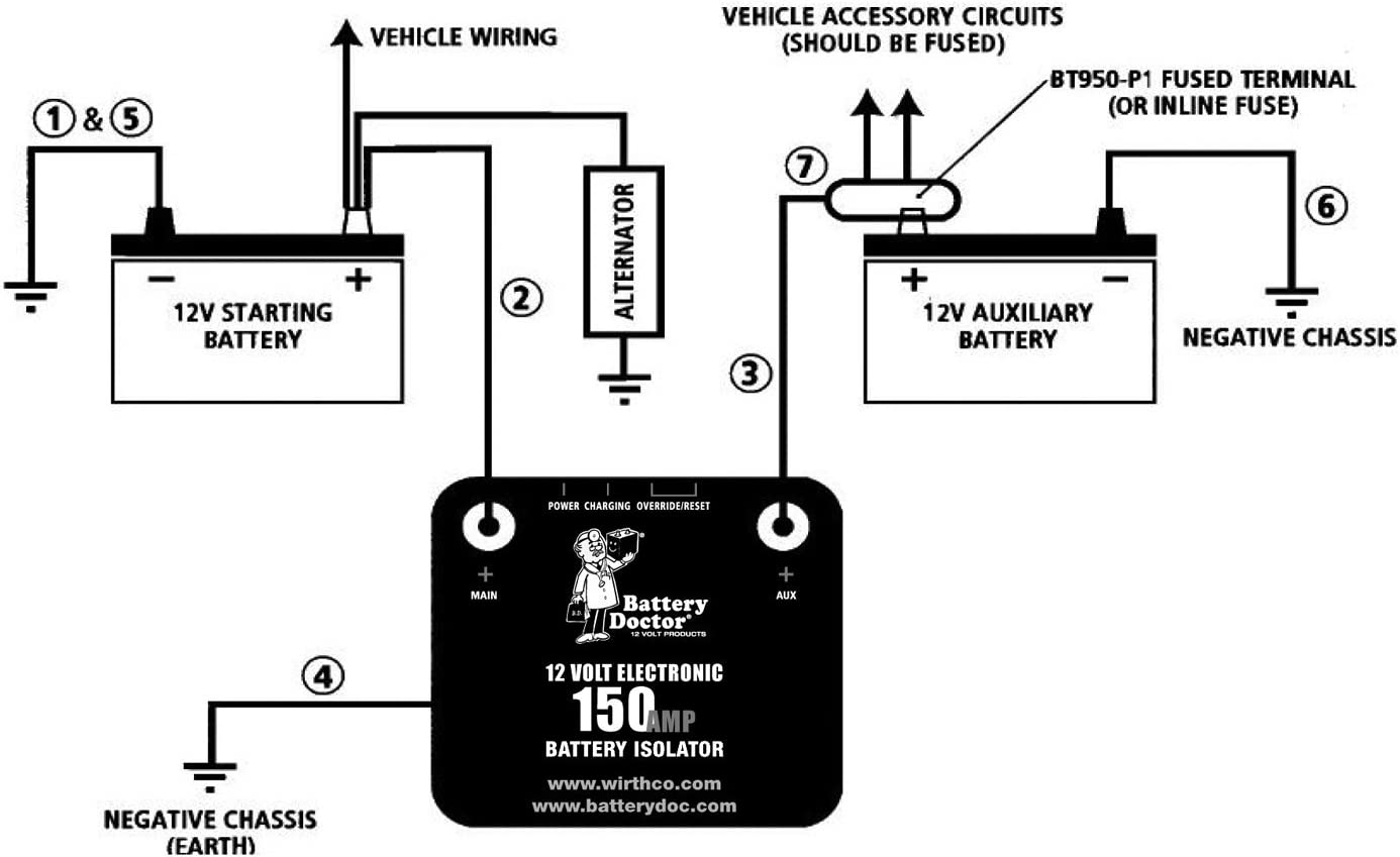 battery isolator wiring diagram with converter amazon com wirthco 20092 battery doctor 125 amp 150 amp battery  wirthco 20092 battery doctor 125 amp