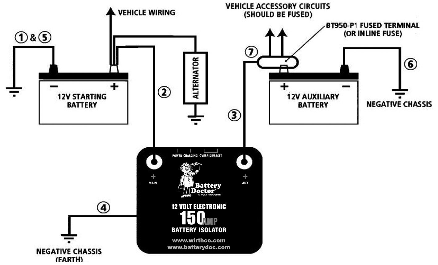 battery doctor 100 amp battery isolator wiring diagram