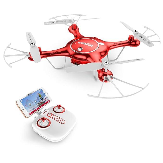 AUKWING Nuevo Drone con Cámara 720P HD, Syma X5UW WiFi FPV RC Quadcopter Headless Al Aire Libre, BONIFICACIÓN BATERÍA 2.4G 6 Gyro Eje (Rojo)