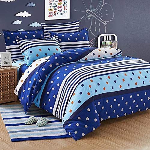 SGDOLL Duvet Cover Set 4 PCS Double Washed Cotton Gray Grid Bedding Duvet Cover 180 x 220cm with 1 Fitted Sheet & 2 Pillowcases Gift (Blue-Love, Double2)