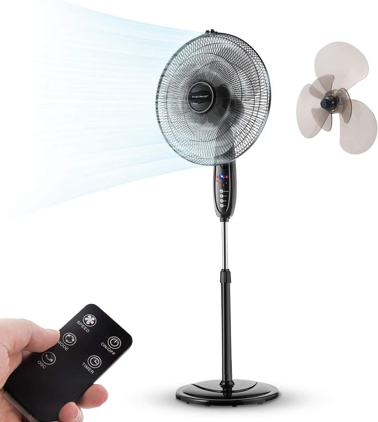 """Aigostar Lewis - 16"""" Standing Fan, Electronic Oscillating Pedestal Fans with Remote Control, Pedestal Floor Fan for Whole-Room Cooling, 3-Mode &3-Speed & 7.5H Timer, Black"""