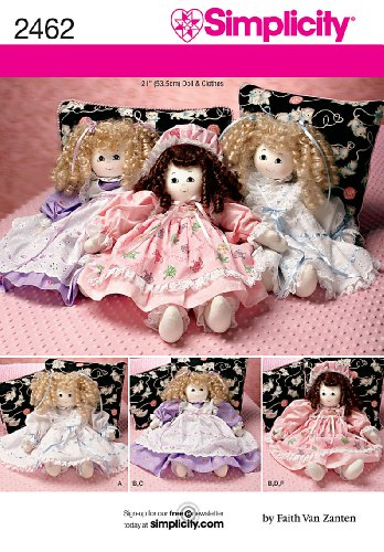 Simplicity Faith Van Zanten Pattern 2462 Doll and Doll Outfits for 21