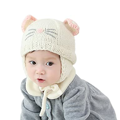 47971fa6806 MIA Toddler Kids Wool Cute Cat Knitted Beanie Autumn Winter Warm Cap  Earflap Hat(Beige)  Amazon.co.uk  Clothing