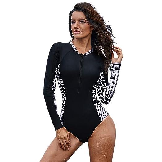 aa1de17a9b3 Amazon.com: Caopixx Women's Printing Long Sleeve Zip One Piece Surfing  Diving Swimsuit Swimwear Bathing Suits: Clothing
