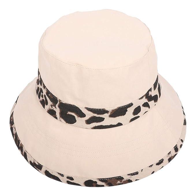 938a45441f9fe Amazon.com  Sunyastor Summer Sun Men Women UV Beach Caps Sports Fishing Hats  Travel Bohemian Hats Beach Sun Hat Leopard Basin Caps Black  Clothing