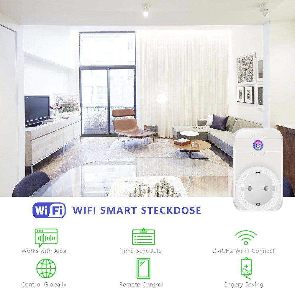 Intelligente Steckdose, Roadwi Smart WLAN Steckdose(EU), Steuern Sie Ihr Gerät von überall, Funktioniert mit Home Automatische APP für IOS und Android Smartphones, mit Amazon Alexa [Echo, Echo Dot] und Google Home