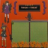 Halloween Trick or Treat Paper Piecing Scrapbook (2) Pages Premade