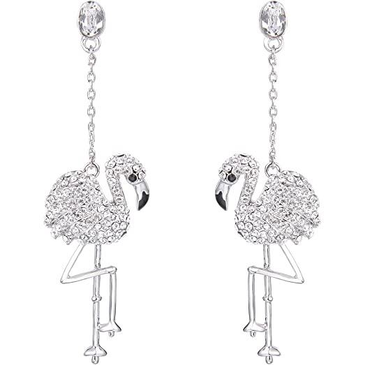 EVER FAITH Austrian Crystal Art Deco Lovely Flamingo Bird Pierced Dangle Earrings WH88hOFM