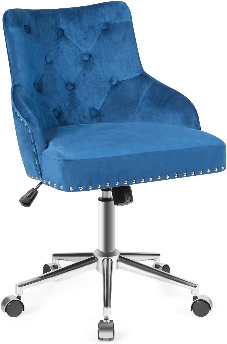 Giantex Modern Home Office Chair, Tufted Velvet Swivel Armchair with Nailhead Trim, Mid-Back Velvet Office Chair with Upholstered seat, Adjustable Task Chair Computer Desk Chair (Blue)