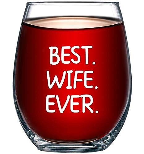 Amazon.com: Best esposa Ever 15oz Vidrio de vino – Regalos ...