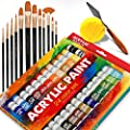 Complete Acrylic Paint Set – 24? Rich Pigment Colors – 12x Art Brushes with Bonus Paint Art Knife & Sponge – for Painting Canvas, Clay, Ceramic & Crafts, Non-Toxic & Quick Dry – for Kids & Adults