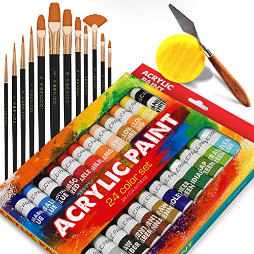 Complete Acrylic Paint Set - 24х Rich Pigment Colors - 12x Art Brushes with Bonus Paint Art Knife & Sponge - for Painting Canvas, Clay, Ceramic & Crafts, Non-Toxic & Quick Dry - for Kids & Adults