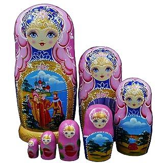 BBYaki Bella Bambola Fatta a Mano in Legno Nidificazione Russia Regalo Desiderio Matrioska Tradizionale, Set di 7 Pezzi