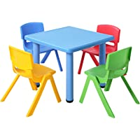 Kids Table and Chair Set Children Plastic Furniture Play Outdoor Blue 5PC