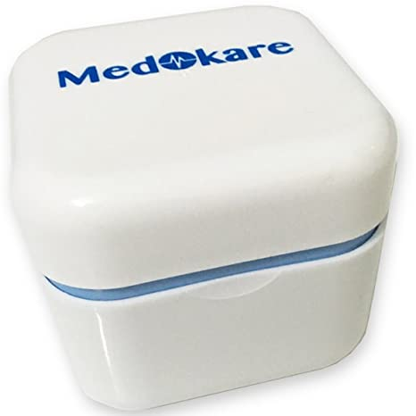 Estuche para dentaduras postizas Medokare, recipiente para dentaduras postizas con tapa, recipiente para guardar