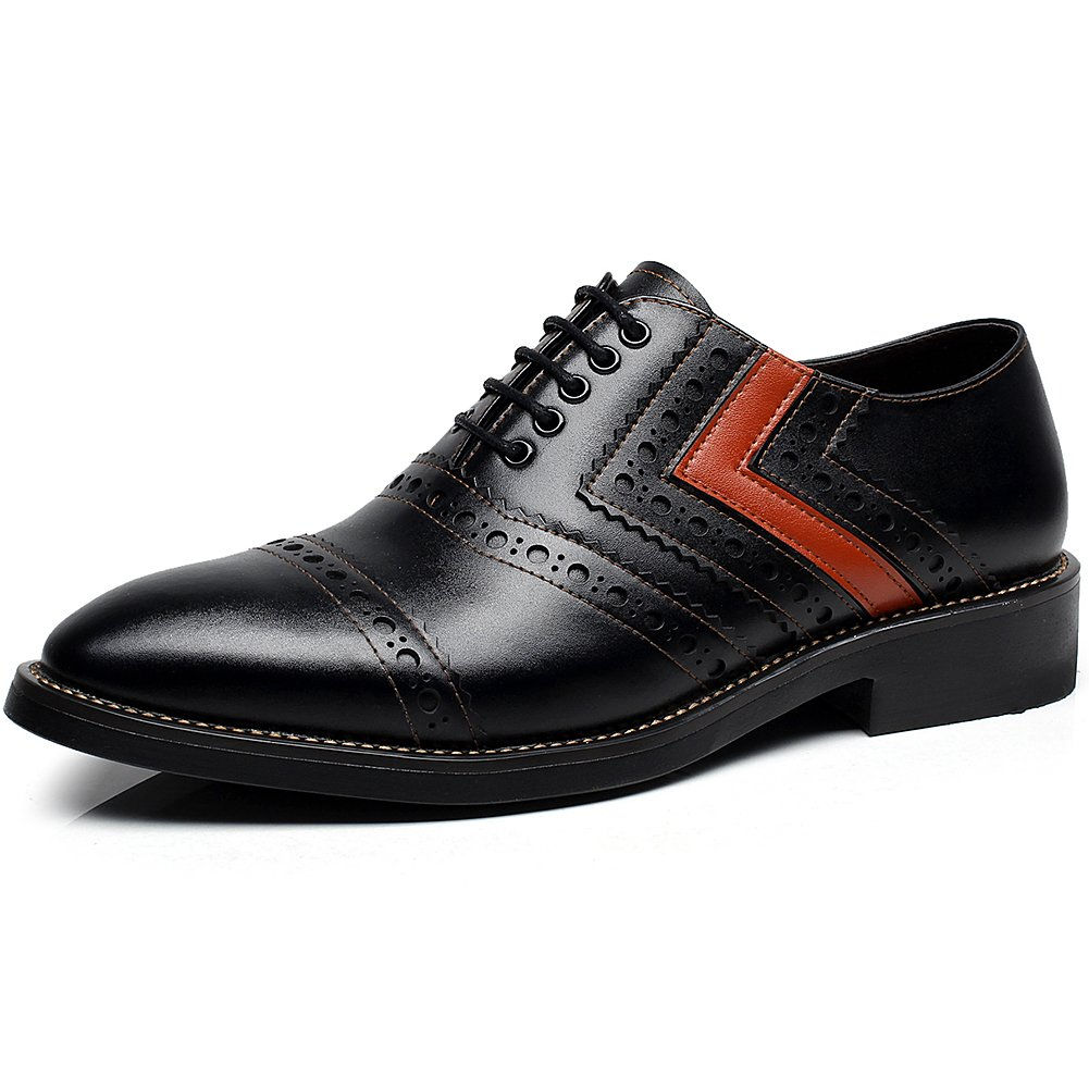 rismart Newly Men's Dress Leather Oxfords Shoes European Trendy Lace up Brogues Orange SN16899 US9.5