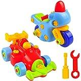 分解できる玩具車 2セット、子供キット用の引き離せる玩具、車の組立て50ピース、少年少女用 玩具スクリュードライバー付き、STEM教育的ビルドイット玩具、クールなオートバイとF1レースカー 3歳以上の幼児用