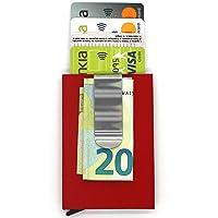 Tarjetero con protección RFID | Diseño Minimalista Unisex, Material metálico y poliéster (Rojo)