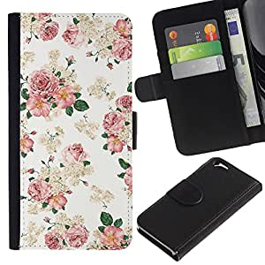 UberTech / Apple Iphone 6 4.7 / Floral Rose Pattern White Light Vintage / Cuero PU Delgado caso Billetera cubierta Shell Armor Funda Case Cover Wallet Credit Card