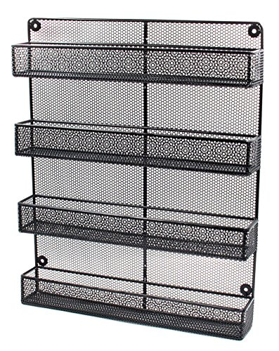 ESYLIFE 4 Tier Large Wall Mounted Wire Spice Rack Organizer, - Rack Wall Wire