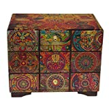 NOVICA Decoupage Wood Jewelry Box Chest of Drawers, Huichol Portal'