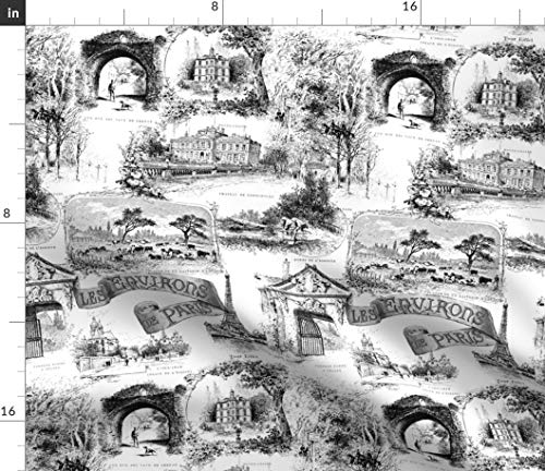 Spoonflower Paris Fabric - French Toile France Black and White Bw Traditional Print on Fabric by The Yard - Eco Canvas for Durable Upholstery Home Decor Accessories
