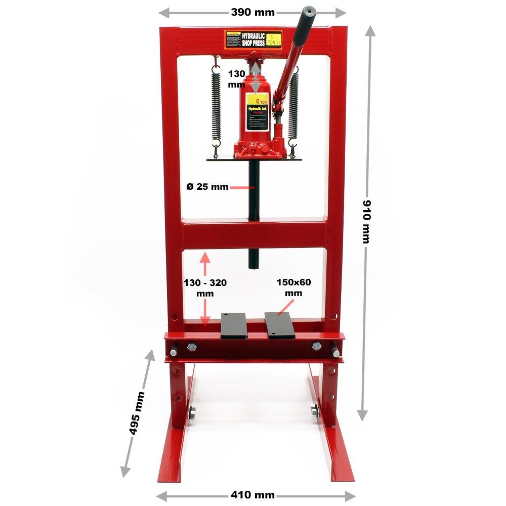 WilTec Presse hydraulique Presse d/'Atelier Presse /à Cadre 6t Pression de pressage